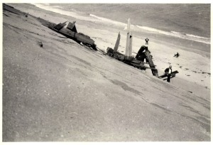 Marconi Towers tumbling down the dune. Possibly Fred Parsons photo