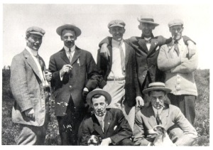 Marconi Station crew. Last man on right is Nickerson. Photo furnished by Walter Campbell