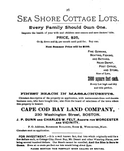 Cape Cod Bay Land Company advertisement